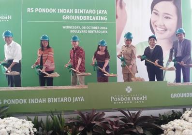 Walikota Tangsel dan perwakilan perusahaan saat Ground Breaking RSPI Bintaro.(ny)