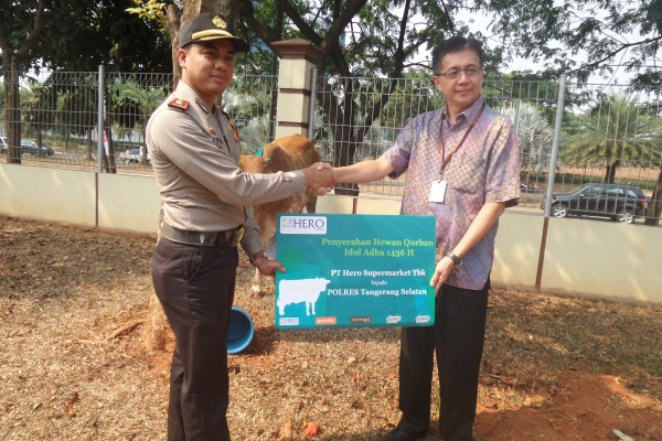 Hero Group memberikan sumbangan hewan kurban ke Polres Tangsel. (man)