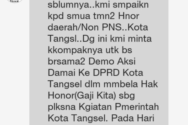 Broadcast seruan aksi demo tenaga honorer ke DPRD Tangsel. (one)
