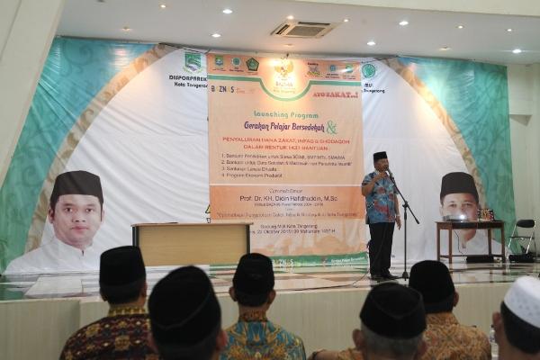 Wakil Walikota Tangerang, Sachrudin saat launching program Gerakan Pelajar Bersedekah. (ist)