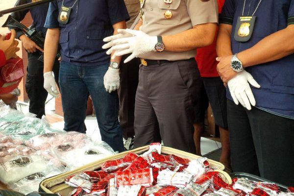 Barang bukti narkoba yang diamankan Polres Bandara Soekarno Hatta. (don)