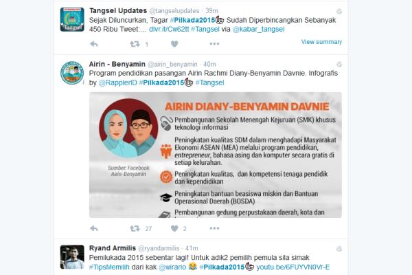Screenshot tagar Pilkada Tangsel di twitter. (twitter.com)