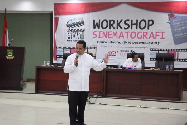 Walikota Tangerangs, Arief saat membuka Workshop Sinematografi. (ist)