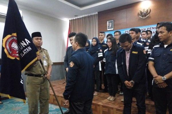 Camat Pamulang saat pelantikan pengurus Karang Taruna Pamulang. (man)