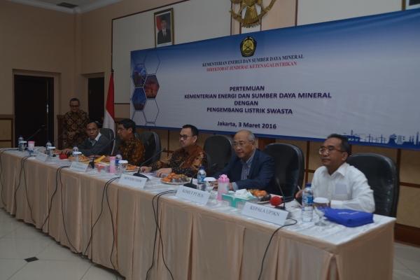 Pertemuan Kementerian ESDM dengan Pengembang Listrik Swasta. (ist)