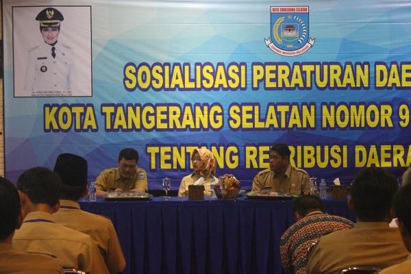 Sosialisasi Perda Retribusi Daerah yang dilaksanakan Dispora Kota Tangsel. (man)