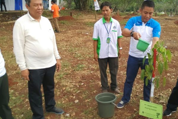 Wakil Walikota Tangsel menaman pohon di Situ Sasak. (kie)