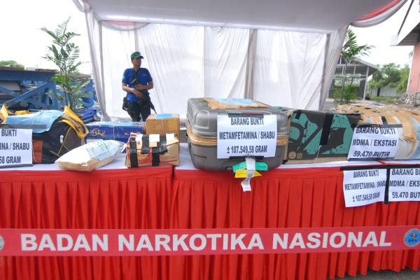 Barang Bukti Narkotika yang bakal dimusnahkan BNN di Garbage Plan Bandara Soekarno Hatta. (eni)