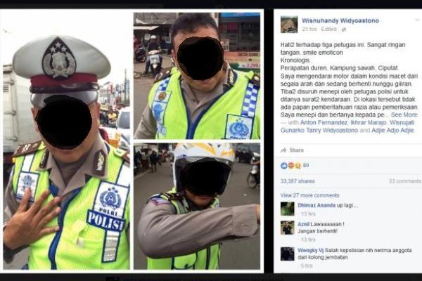 Ketiga polisi yang diklaim memukul Wisnuhandy. (facebook/Wisnuhandy Widyoastono)
