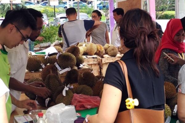 Pengunjung memilih durian dalam pesta durian di SMS Mal Tangerang. (bd)