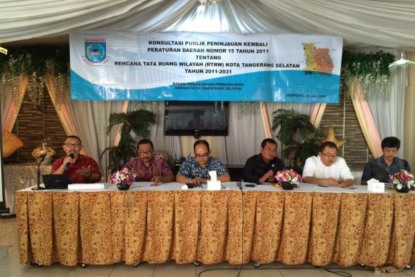 Konsultasi publik RTRW yang digelar Bappeda Tangsel. (man)