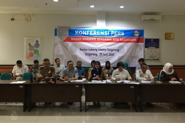 Perwakilan BPJS memberikan keterangan soal kebijakan BPJS Kesehatan saat hari raya Idul Fitri. (she)