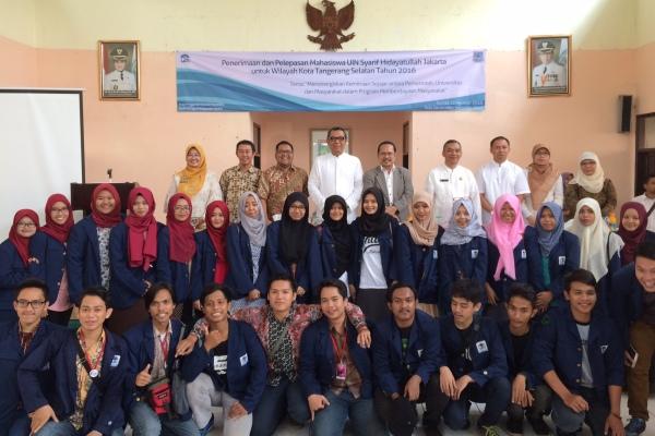 Mahasiswa UIN peserta KKN saat pelepasan dan penerimaan di Kecamatan Serpong Utara. (nad)