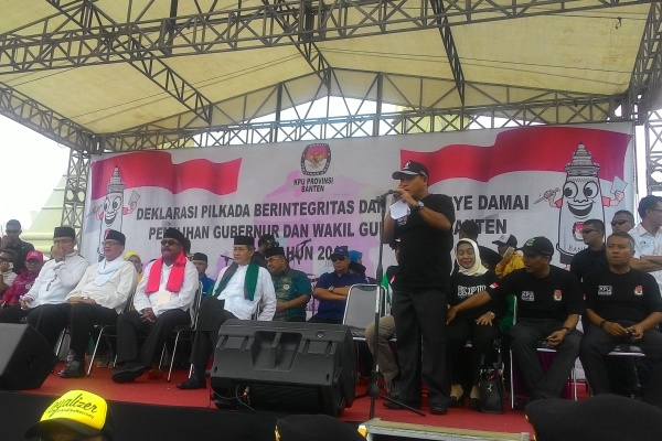 Aksi Kampanye Damai Pilkada Banten yang digelar KPU Banten di Serang. (uad)