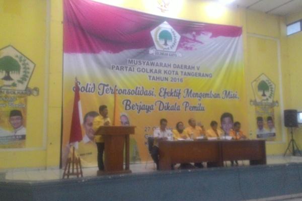 Sachrudin saat menyampaikan visi misinya pada Musda V Golkar Kota Tangerang. (uad)
