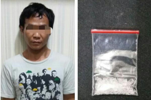 Tersangka dan barang bukti narkoba jenis sabu. (ist)