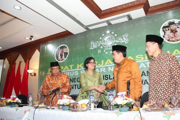 Menkeu Sri Mulyani menghadiri Rakernas Pengurus Besar NU. (ist)