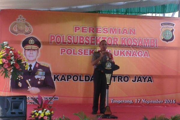 Kapolda Metro Jaya, Irjen M Iriawan memberikan sambutan pada persesmian Polsubsektor Kosambi. (pp)