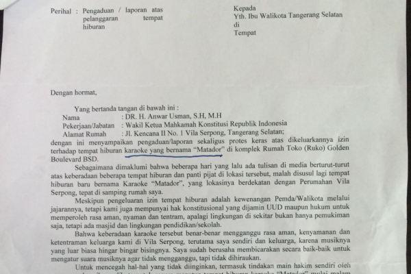 Surat yang dilayangkan Wakil Ketua MK soal karaoke Matador. (rep)