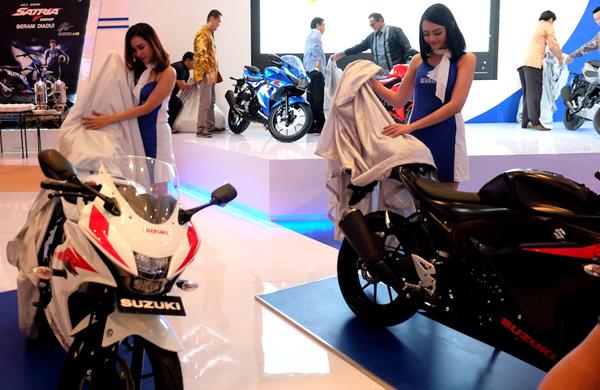 Brand Suzuki memperkenalkan produk motor baru mereka di IMOS  2016. (ist)